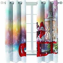 Giunuak 3D Eyelet Curtain Snowman Livingroom Home