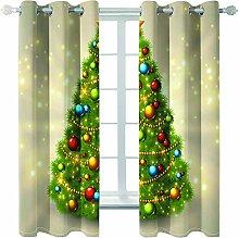 Giunuak 3D Insulated Blackout Curtains Christmas