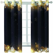 Giunuak 3D Insulated Blackout Curtains Snowflake