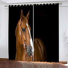 Giunuak Bedroom 3D Blackout Curtains Animal Horse