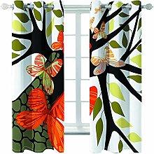Giunuak Bedroom 3D Blackout Curtains Plant Leaves