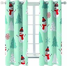 Giunuak Bedroom 3D Blackout Curtains Snowman Kids