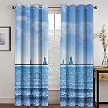 Giunuak Blackout Curtains 3D Sea Boat,Living Room
