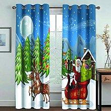 Giunuak Blackout Curtains Christmas Curtain