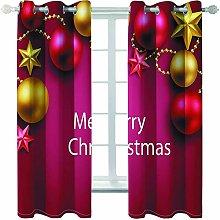Giunuak Blackout Curtains Eyelet 3D Christmas