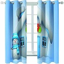 Giunuak Blackout Curtains Eyelet 3D Snowman Kids