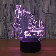 giyiohok 3D Excavator Night Light Illusion LED