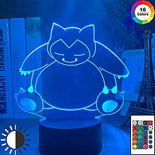 giyiohok 3D Illusion Lamp Led Night Light Snorlax