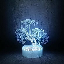 giyiohok 3D Illusion Lamp LED Night Light Tractor