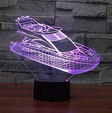 giyiohok 3D LED Desk Lamp 7 Color Atmosphere Boat