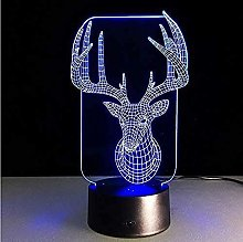 giyiohok 3D LED Night Lamp 7 Colors Table Desk