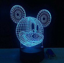 giyiohok Illusion Night Light 3D Cute Mickey Mouse