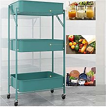 GJF Foldable Kitchen Cart 3-Tier Metal Rolling