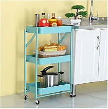 GJF Foldable Kitchen Trolley 3-Tier Metal Storage