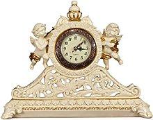 GJF Retro Resin Mantel Clock, Silent Battery