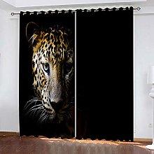 GJKNFH BlackOut Eyelet Curtains Animal leopard