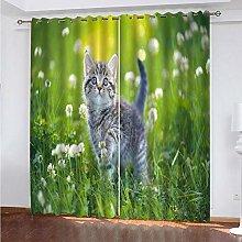 GJKNFH BlackOut Eyelet Curtains Bush animal cat