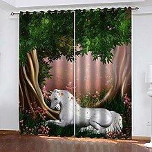 GJKNFH BlackOut Eyelet Curtains Forest animal