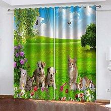 GJKNFH BlackOut Eyelet Curtains Green lawn animal