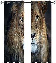 GJKNFH BlackOut Eyelet Curtains Simple animal lion