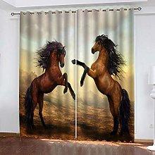 GJKNFH BlackOut Eyelet Curtains Two brown animal