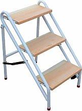 Gjrff 3/4 Step Ladder Wooden Folding Lightweight