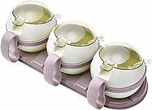 Gjrff Kitchen Spice Jars, Household 3 Pcs Plastic