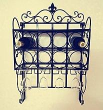 GJSN Wine Rack,Wrought Iron Black/Gold/White Wall