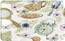 GKGYGZL Non-Slip Bathroom Rugs,Watercolor Tea Cup