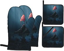 GKGYGZL Oven Mitts and Pot Holders Sets of 4,A