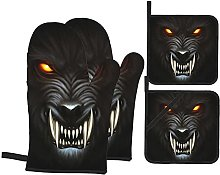GKGYGZL Oven Mitts and Pot Holders Sets of 4,Angry