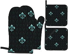 GKGYGZL Oven Mitts and Pot Holders Sets of 4,Dark