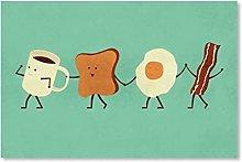 GKZJ Canvas Art Painting Cartoon Cup Toast Slices