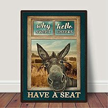 GKZJ Canvas Wall Art Print Funny Donkey Why Hello