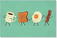 GKZJ Wall Art Canvas Painting Cartoon Cup Toast