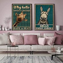 GKZJ Wall Pictures Funny Donkey And Giraffe Hello