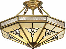 Gladstone semi-ceiling lamp in antique brass and