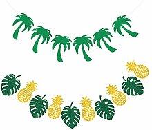 GLAITC Tropical Leaf Banner Garland,Hawaiian Aloha