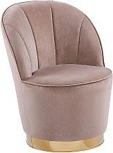 Glam Round Accent Tub Chair Beige Velvet