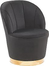 Glam Round Accent Tub Chair Black Velvet