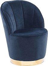 Glam Round Accent Tub Chair Dark Blue Velvet
