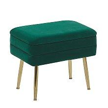 Glam Storage Bench Footstool Velvet Upholstery