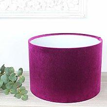 Glamour Fuchsia Pink Velvet Drum Lampshade (25 cm
