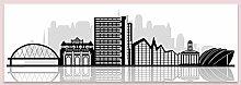 Glasgow Canvas Skyline Black White Slim Panorama