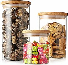 Glass Airtight Storage Jar Set of 3, Kitchen Food