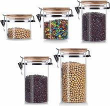 Glass Airtight Storage Jar Set of 5, Kitchen Food
