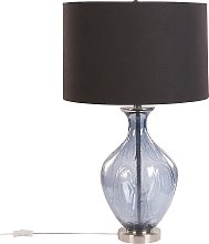 Glass Bedside Table Lamp Blue and Black 70 cm