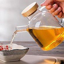 Glass Bottle Dispenser Bamboo lid 650 ML Cooking