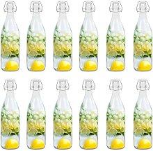 Glass Bottle with Clip Closure 12 pcs 1 L