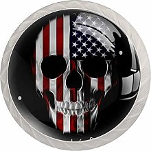 Glass Cabinet Knobs American Flag Skull with 3D